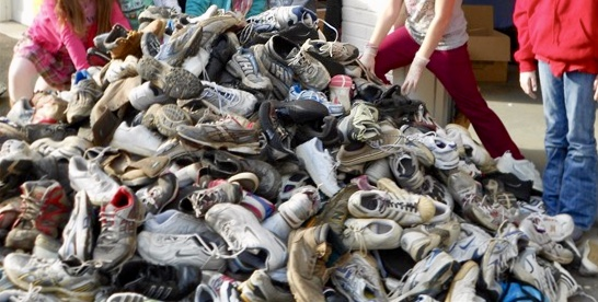 A mountain of shoes